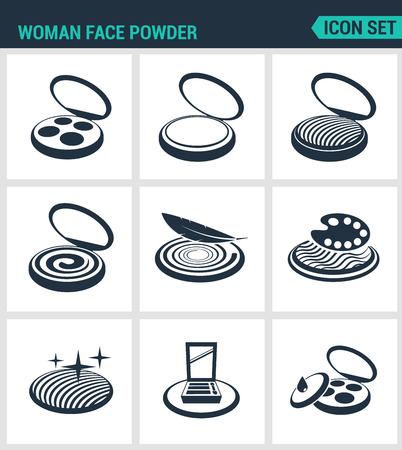 face powder: Set of modern vector icons. Woman face powder, reticulation, blush, eye shadow. Black signs on a white background. Design isolated symbols and silhouettes. Illustration