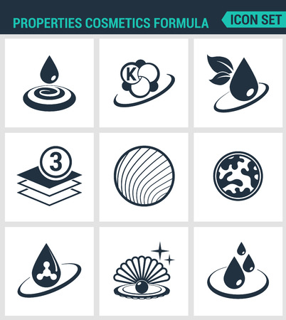 anti age: Set of modern vector icons. Properties cosmetics formula Beauty . Black signs on a white background. Design isolated symbols and silhouettes.
