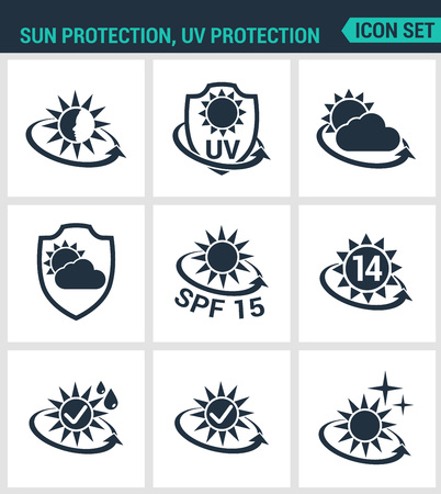 Set of modern vector icons. Sun, uv, light protection, round the clock protection from weather SPF. Black signs on a white background. Design isolated symbols and silhouettes