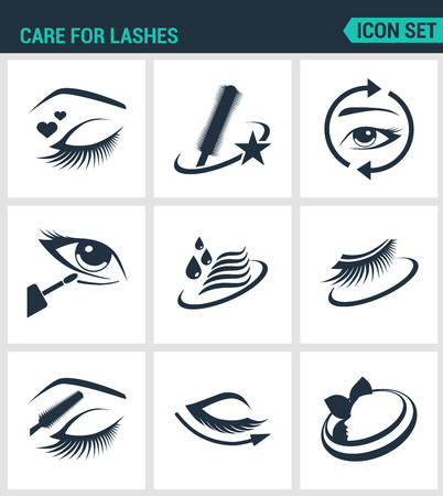 lashes: Set of modern vector icons. Care for lashes cosmetics, eyes, eyebrows, eyelashes, pencil, eyeliner, mascara. Black signs on a white background. Design isolated symbols and silhouettes.