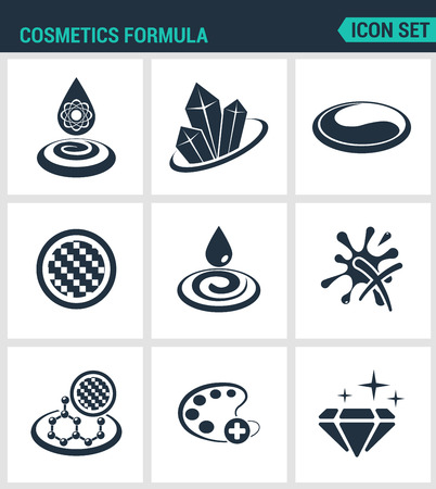 moisture: Set of modern vector icons. Cosmetics formula properties, gloss, color, texture, moisture. Black signs on a white background. Design isolated symbols and silhouettes. Illustration