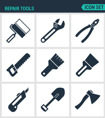 adjustable wrench: Set of modern vector icons. Repair tools cushion, adjustable wrench, pliers, pliers, saws, brush, stationery knife, shovel, ax. Black signs white background. Design isolated symbols and silhouettes. Illustration