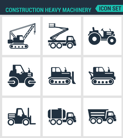 heavy machinery: Set of modern vector icons. Construction heavy machinery tractor, lift, crane, roller, bulldozer, dump truck, barrel. Black signs on a white background. Design isolated symbols and silhouettes. Illustration