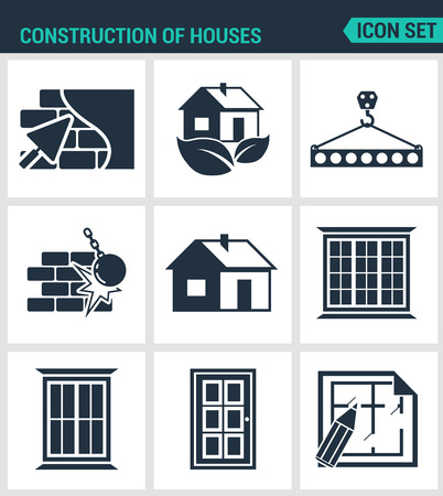 Set of modern vector icons. Construction of houses plaster walls, eco-house, bar, tap, break down the walls, windows, doors, project. Black signs white background. Design isolated symbols silhouettes.