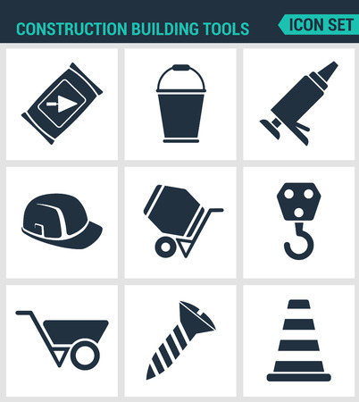 black and white cone: Set modern vector icons. Construction Building tools cement, bucket, silicone, helmet, concrete mixer, crane, tachanka, screw, cone. Black signs white background. Design isolated symbols silhouettes Illustration
