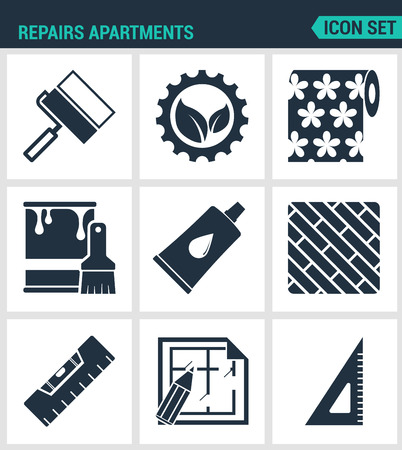 flooring: Set of modern vector icons. Repairs apartments roller gear, wallpaper, paint, glue, board level layout, square. Black signs on a white background. Design isolated symbols and silhouettes.