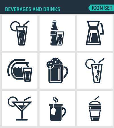 margerita: Set of modern vector icons. Beverages and drinks shake, martini, bottle, bar, cocktail, alcohol, glass, soda, juice drink. Black signs on a white background. Design isolated symbols and silhouettes.