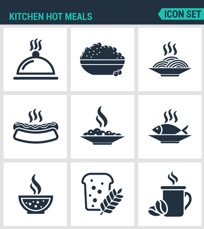 Set of modern vector icons. Kitchen hot meals dish, eggs, pasta,, hot dog, riba, soup, porridge, bread, coffee. Black signs on a white background. Design isolated symbols and silhouettes.