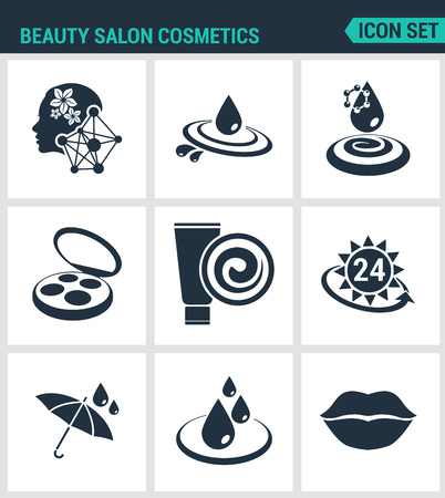 sun protection: Set of modern vector icons. Beauty salon cosmetics , care, cream, moisturizing, sun protection, water resistant, waterproof, lips. Black signs white background. Design isolated symbols silhouettes.