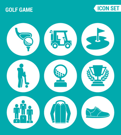 sand trap: Vector set web icons. Golf game, car, flag, player, ball, cup, reward, sportswear, sneakers. Design of signs, symbols on a turquoise background.