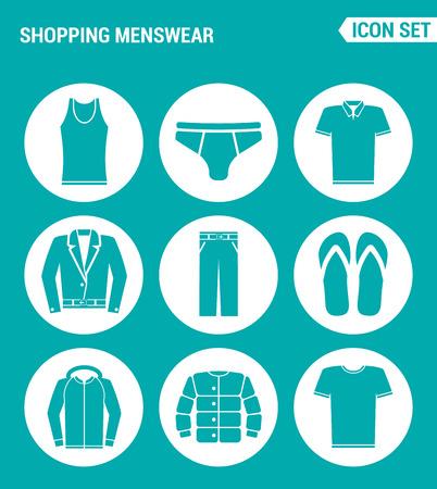 Conjunto de vectores iconos de la web. Cesta de la moda masculina camiseta, faldas, pantalones, zapatillas de deporte, chaqueta de cuero, diseño de la camiseta de los signos, símbolos sobre un fondo de color turquesa Ilustración de vector