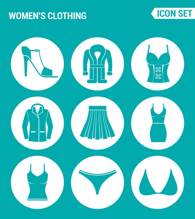 swimming trunks: Vector set web icons. Womens clothing shoes, coat, jacket, skirt, dress, t-shirt, swimming trunks, brassiere. Design of signs, symbols on a turquoise background