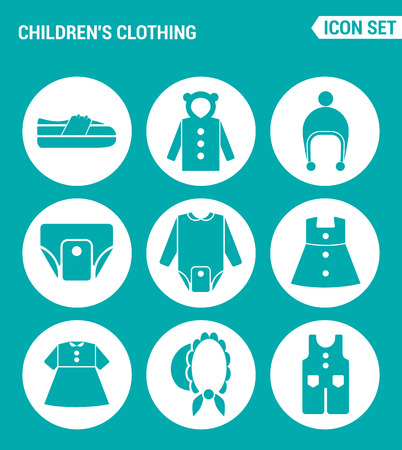 raglan: Vector set web icons. Children clothing shoes, jacket, raglan, cap, diapers, clothes, hat, pants. Design of signs, symbols on a turquoise background
