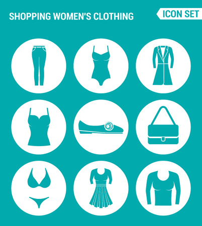 skirt suit: Vector set web icons. Shopping women clothing pants, bathing suit, coat, shirt, sneakers, shoes, bag, dress, skirt, pullover. Design of signs, symbols on a turquoise background Illustration