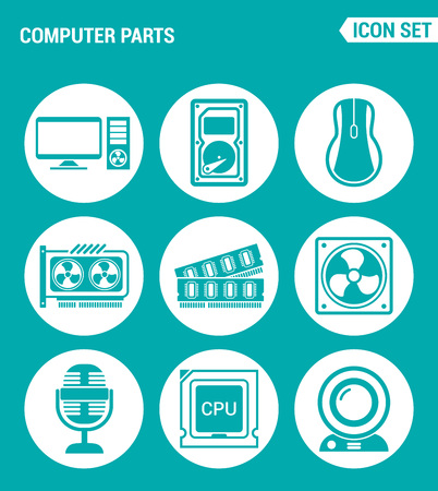Vector set web icons. Computer parts, hard drive, mouse, video card, RAM, cooler, CPU, webcam, microphone. Design of signs, symbols on a turquoise background