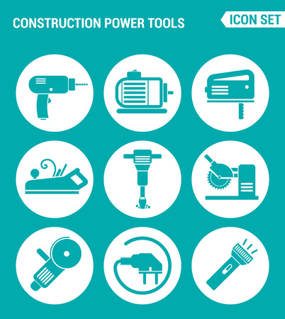 power tools: Vector set web icons. Construction Power Tools Drill perforator, saw, planer, pneumatic hammer, Angle grinder, socket, Lantern. Design of signs, symbols on a turquoise background