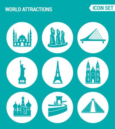 rapa nui: Conjunto de vectores iconos de la web. atracciones del mundo de la mezquita, rapa nui, puente, estatua de la libertad, la Torre Eiffel, la Iglesia, muralla china, pirámide. Diseño de los signos, símbolos sobre un fondo azul turquesa Vectores