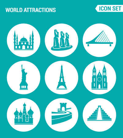 statue liberty: Vector set web icons. World attractions Mosque, rapa nui, Bridge, Statue Liberty, Eiffel Tower, Church, Chinese Wall, Pyramid. Design of signs, symbols on a turquoise background