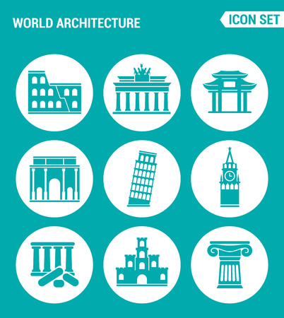 leaning tower: Vector set web icons. World architecture Colosseum, gate, China, Berlin, Leaning Tower, Big Ben, Greek ruins, Castle, Columns. Design of signs, symbols on a turquoise background