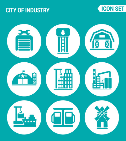 filling station: Vector set web icons. City of industry garage, pumping station, farm, military base, home, building, plant, port, mill, filling station. Design of signs, symbols on a turquoise background