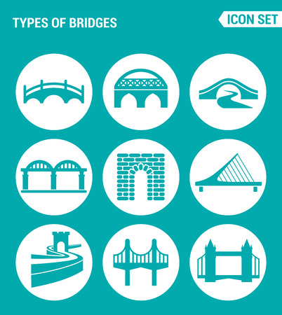 rope bridge: Vector set web icons. KInds of bridges architecture, construction. Design of signs, symbols on a turquoise background