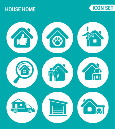 motor home: Vector set web icons. House home selling home, shelter animal, search home, family, broker, motor home, garage. Design of signs, symbols on a turquoise background