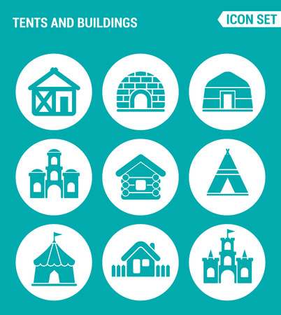 the courtyard: Vector set web icons. Tents and buildings, culture, indian, Turkish tent, castle, fort, hut, courtyard. Design of signs, symbols on a turquoise background