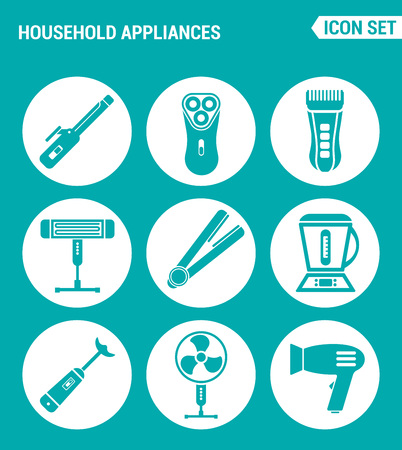 clothes washer: Vector set web icons. Household Appliances hair dryers, curling irons, electric shavers, shaving machine, heater, blender, food processor, fan. Design signs, symbols a turquoise background Illustration