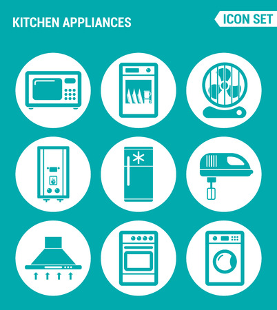 extractor: Vector set web icons. Kitchen appliances microwave, dishwasher, fan, boiler, refrigerator, blender, extractor hood, gas stove, washing machine. Design signs, symbols isolated turquoise background