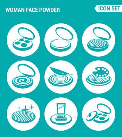 eyeshadow: Vector set web icons. Woman face powder, blush, eyeshadow, palette. Design of signs, symbols on a turquoise background Illustration