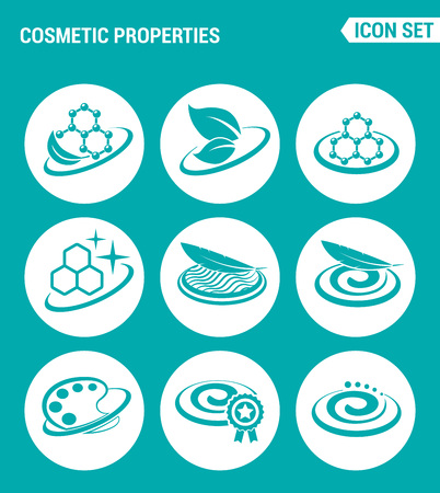 lightness: Vector set web icons. Cosmetic properties, lightness, softness, texture, color, improved formula. Design of signs, symbols on a turquoise background