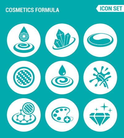 Conjunto de vectores iconos de la web. Cosméticos propiedades fórmula, brillo, Mejorar el color de la cara, textura, hidratación de la piel. Diseño de los signos, símbolos sobre un fondo azul turquesa Foto de archivo - 60298990