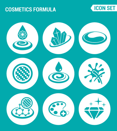 Vector set web icons. Cosmetics formula properties, gloss, face color improvement, texture, skin hydration. Design of signs, symbols on a turquoise background