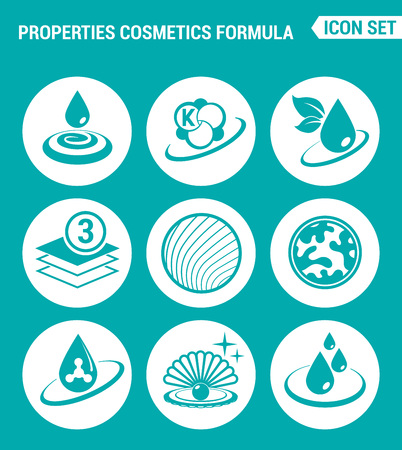 actual: Vector set web icons. Properties cosmetics formula Beauty. Actual new flat design of signs, symbols isolated on a turquoise background