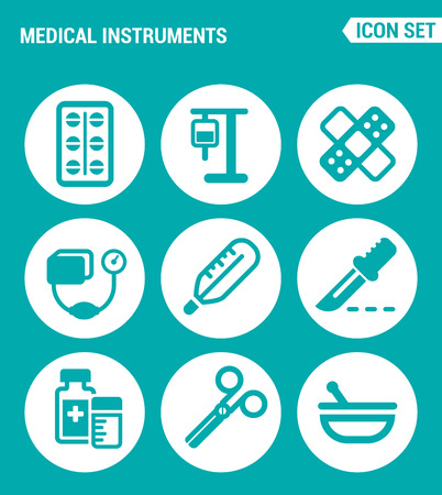 tonometer: Vector set web icons. Medical instruments pills, blood transfusion, dropper, patch, tonometer, thermometer, scalpel, medicine, scissors. Design of signs, symbols on a turquoise background Illustration