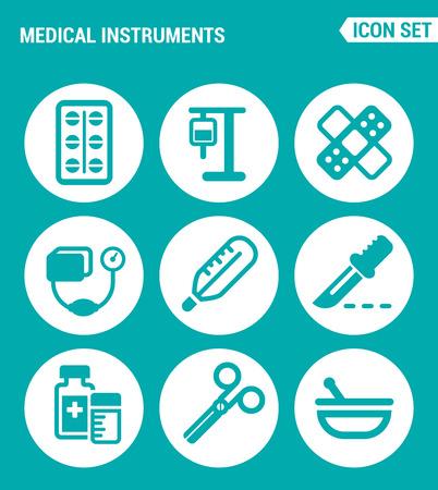 Wektor zestaw ikon www. Pigułki instrumentów medycznych, transfuzja krwi, zakraplacz, łatka, tonometr, termometr, skalpel, medycyna, nożyczki. Projektowanie znaków, symboli na turkusowym tle