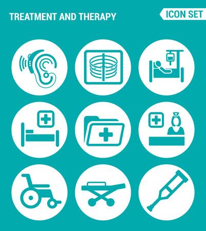 Vector set web icons. Le traitement et la thérapie auditive, X-ray, compte-gouttes, lit, hôpital, dossier, médecin, fauteuil roulant, béquilles, civière. Conception des signes, des symboles sur un fond turquoise