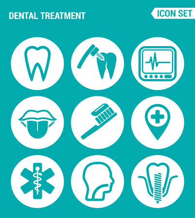 drilling machine: Vector set web icons. Dental treatment tooth, drilling machine, tool, device, tongue, toothbrush, location, clinic, throat, filling, teeth implants. Design of signs, symbols on a turquoise background Illustration