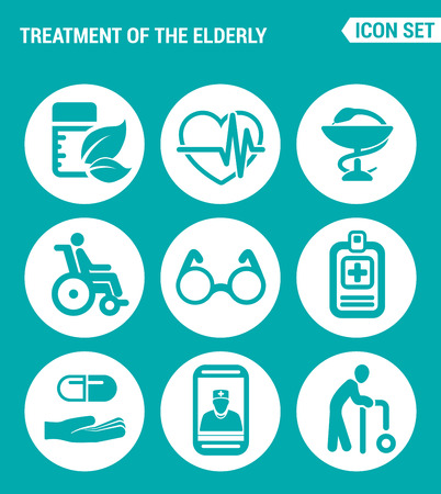 nurse home: Vector set web icons. Treatment the elderly medicine, heart palpitations, pharmacy, disabled person, glasses, prescription of treatment, pills, talk doctor, old man. Design sign, turquoise background
