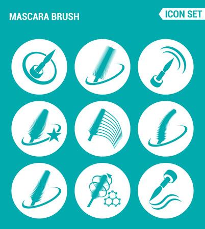 kinds: Vector set web icons. Mascara brush, increase volume, different kinds brushes, new formula. Design of signs, symbols on a turquoise background Illustration