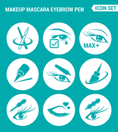 eyebrow makeup: Vector set web icons. Makeup mascara eyebrow, Care for lashes, eyeliner. Design of signs, symbols on a turquoise background