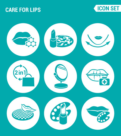Vector set web icons. Care for lips, lipstick, face texture, two in one, mirror, cracking lips, the color palette, the color palette. Design of signs, symbols on a turquoise background  イラスト・ベクター素材