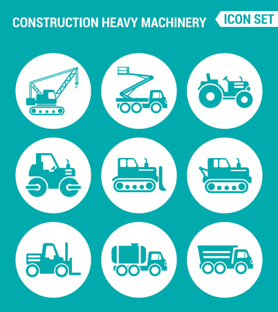 heavy machinery: Vector set web icons. Construction heavy machinery, tractor, mobile aerial tower, crane, bulldozer, dump truck, Vehicles with a barrel. Design of signs, symbols on a turquoise background