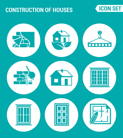 down town: Vector set web icons. Construction of houses plaster walls, eco-house, Crane lifts the concrete block, break down the walls, windows, doors, project. Design of signs, symbols on turquoise background