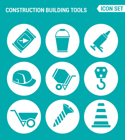 concrete mixer: Vector set web icons. Construction Building tools cement, bucket, silicone, helmet, concrete mixer, crane, screw, construction cone. Design of signs, symbols on a turquoise background Illustration