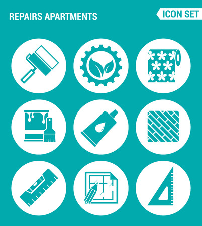 floor level: Vector set web icons. Repairs apartments, roller, gear, wallpaper, paint, glue, floor, building level, drawing apartments. Design of signs, symbols on a turquoise background Illustration