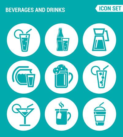 margerita: Vector set web icons. Beverages and drinks shake, martini, bottle, bar, cocktail, alcohol, soda, juice drink. Design of signs, symbols on a turquoise background Illustration