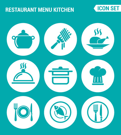 chicken dish: Vector set web icons. Restaurant menu kitchen, fork, chicken, dish, pot, cook, cutlery, fish. Design of signs, symbols on a turquoise background