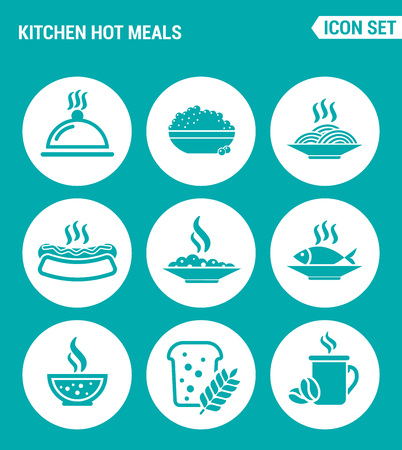 pasta dish: Vector set web icons. Kitchen hot meals, dish, eggs, pasta, hot dog, fish, soup, porridge, bread, coffee. Design of signs, symbols on a turquoise background