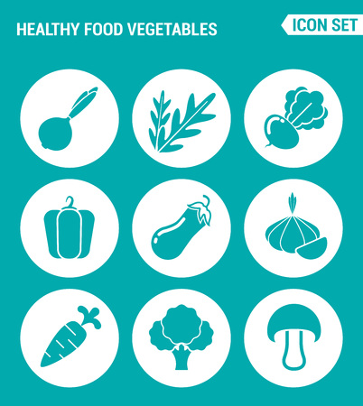 beets: Vector set web icons. Healthy food vegetables, onions, arugula, beets, peppers, eggplant, garlic, carrots, broccoli, mushroom. Design of signs, symbols on a turquoise background